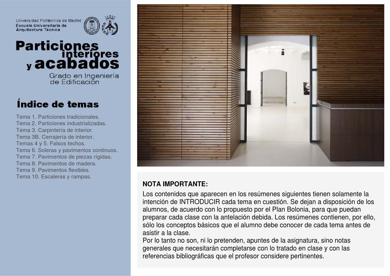 Resumen apuntes particiones y acabados by Fachadas Cubiertas - issuu