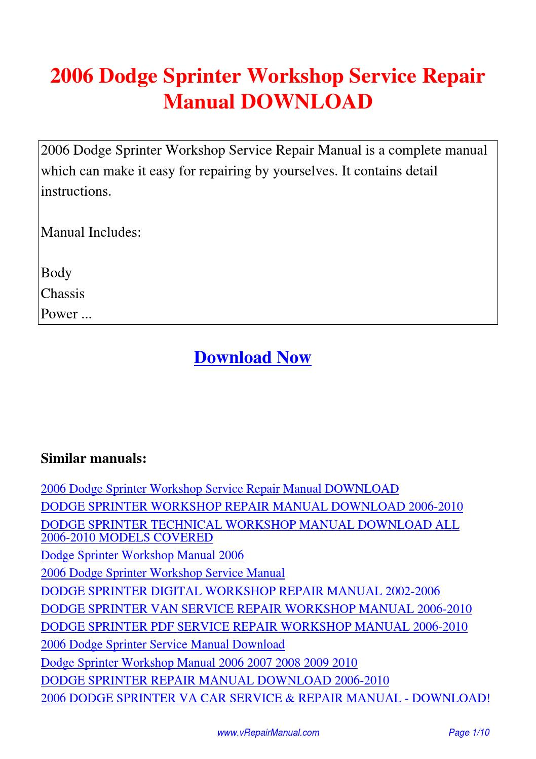 2006 dodge sprinter workshop service repair manual pdf by ting wang rh issuu com 2008 Dodge Sprinter Cargo 2008 Dodge Sprinter Problems