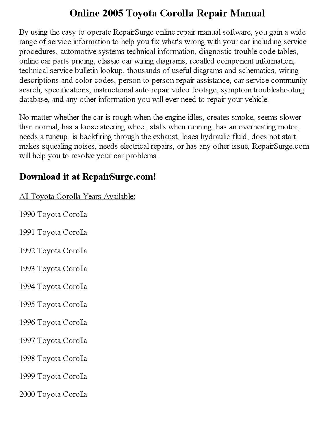 Toyota Corolla Repair Manual: Problem symptoms table