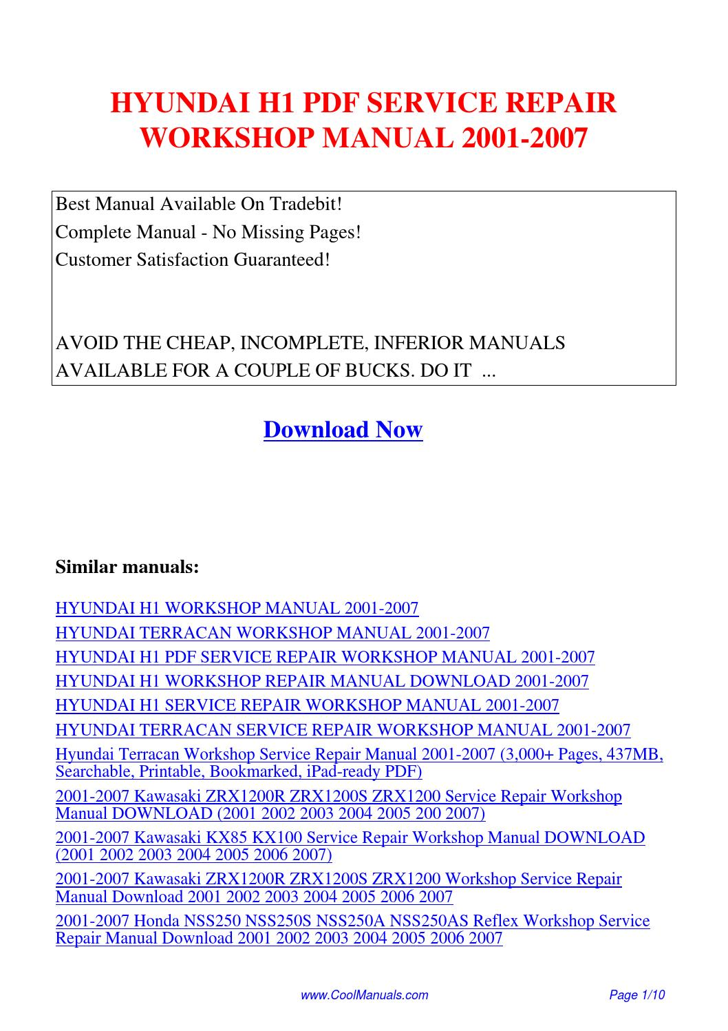 HYUNDAI H1 SERVICE REPAIR WORKSHOP MANUAL 2001-2007.pdf by Linda Pong -  issuu