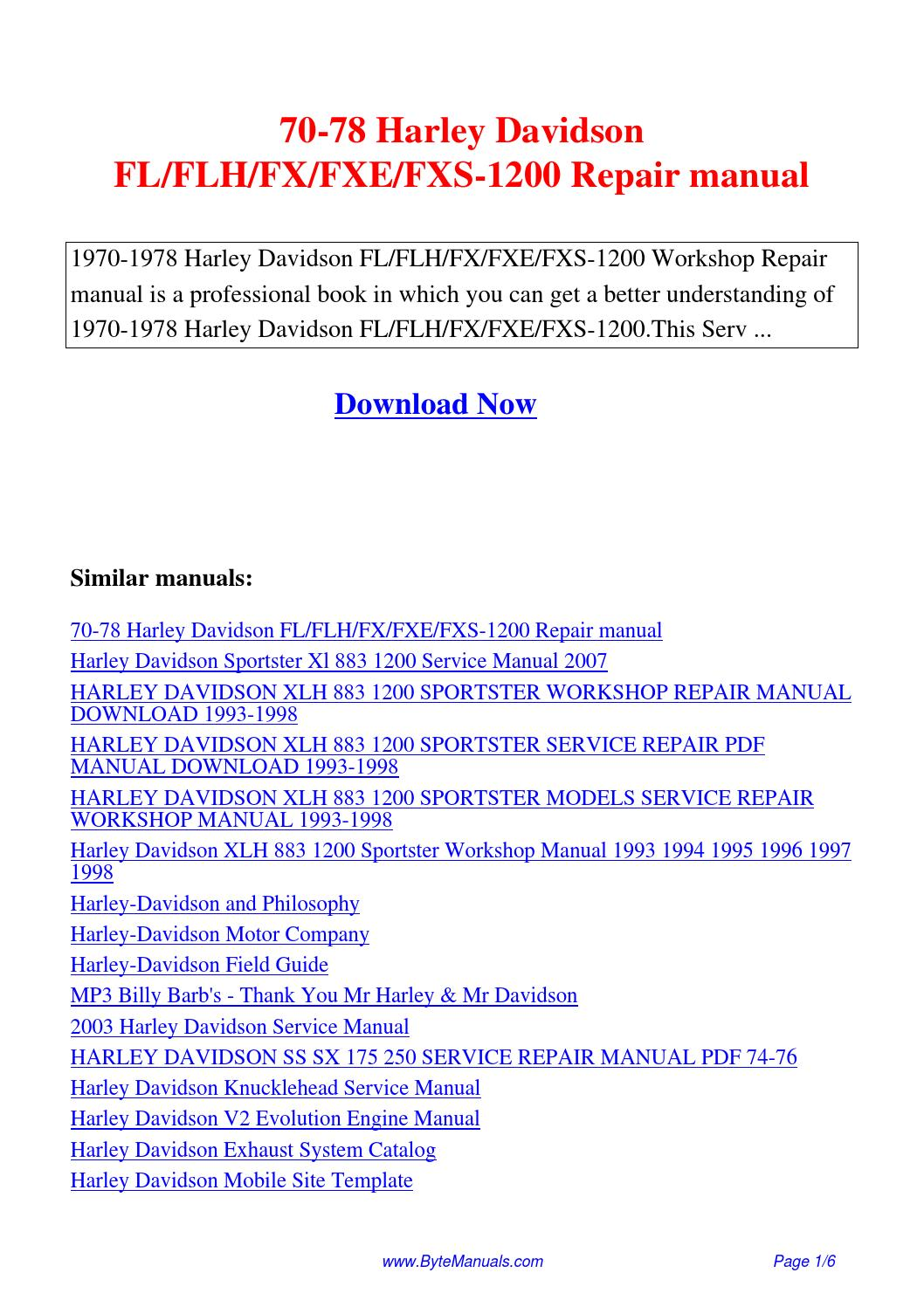 70 78 harley davidson fl flh fx fxe fxs 1200 repair manual. Black Bedroom Furniture Sets. Home Design Ideas