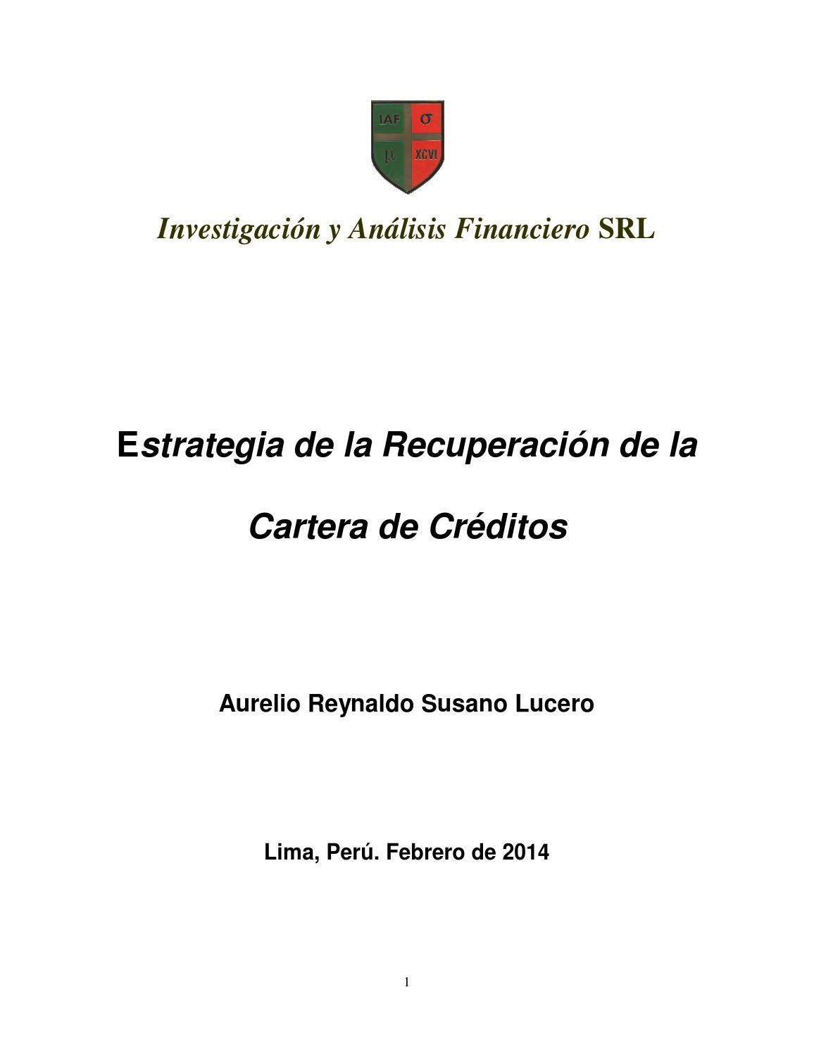 Estrategia de Recuperaciones de la Cartera de Creditos by Aurelio ...
