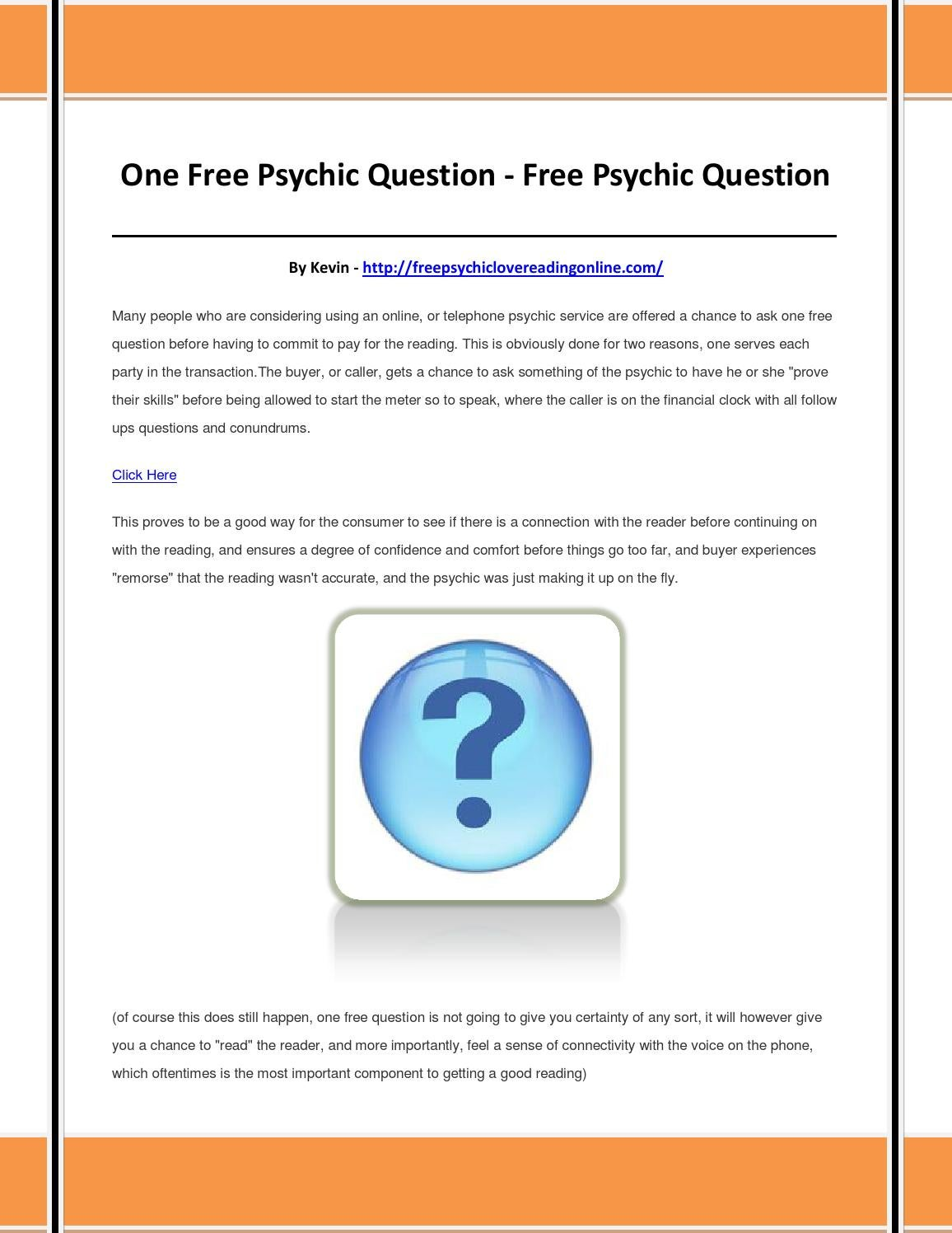 Call psychic one free question