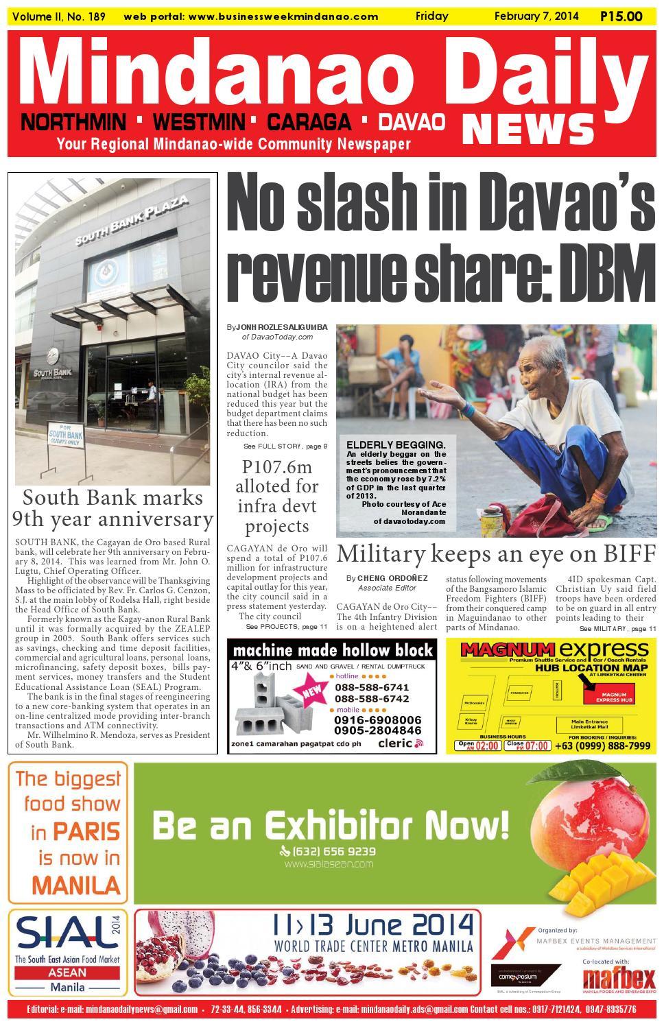 Mindanao Daily Davao (February 7, 2014) by Mindanao Daily