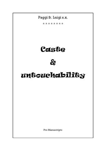 Caste And Untouchability by M E C  Library - issuu