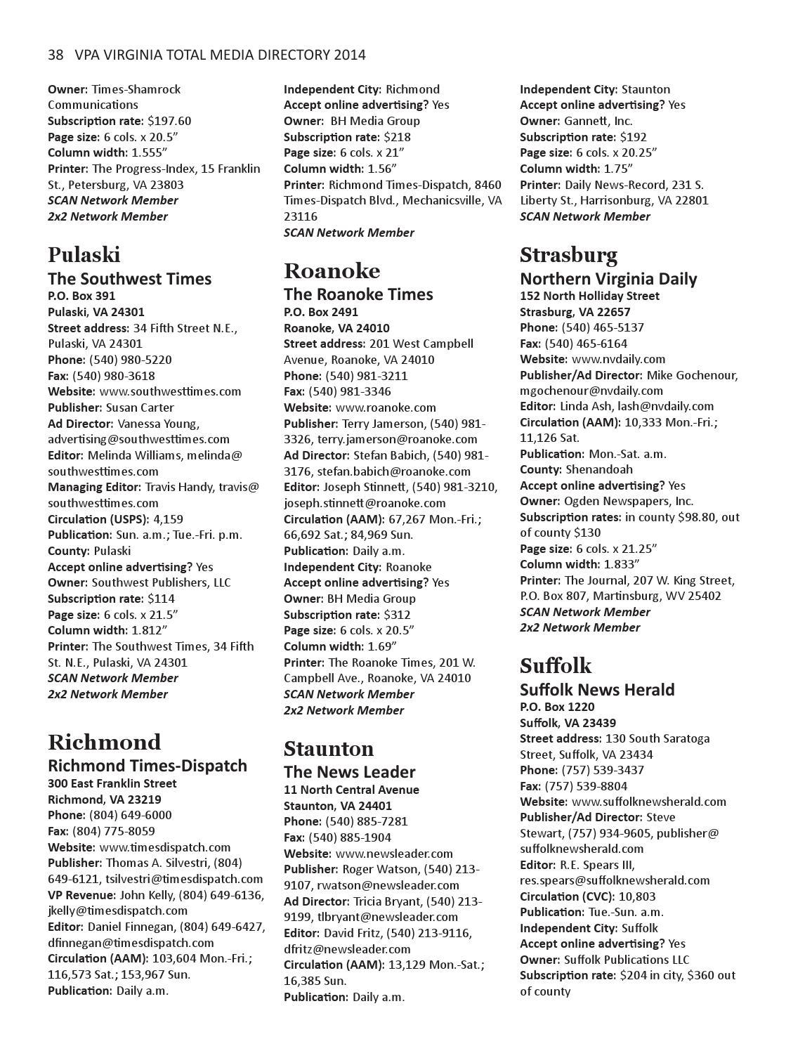 2014 Virginia Total Media Directory by vapress - issuu