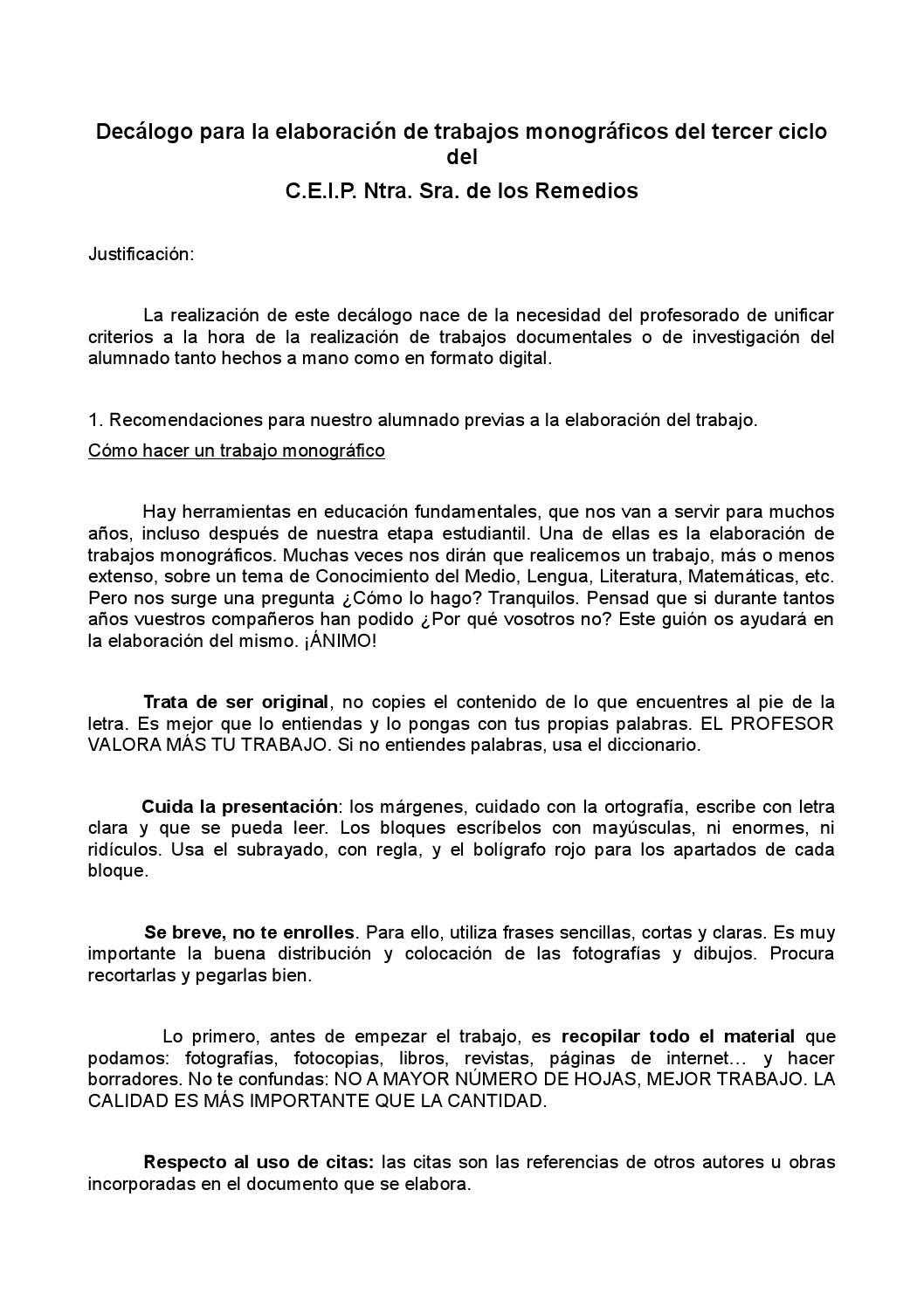 Decalogo para elaboración de trabajos monográficos by antequerano45 ...
