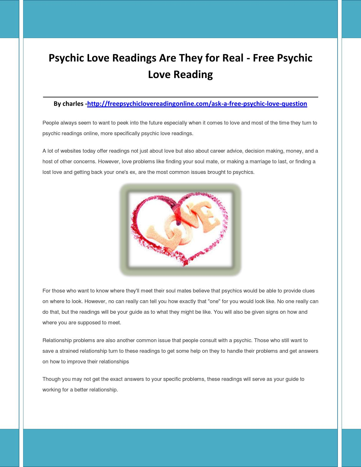 Psychic love readings are they for real by codliveroilpillf - issuu