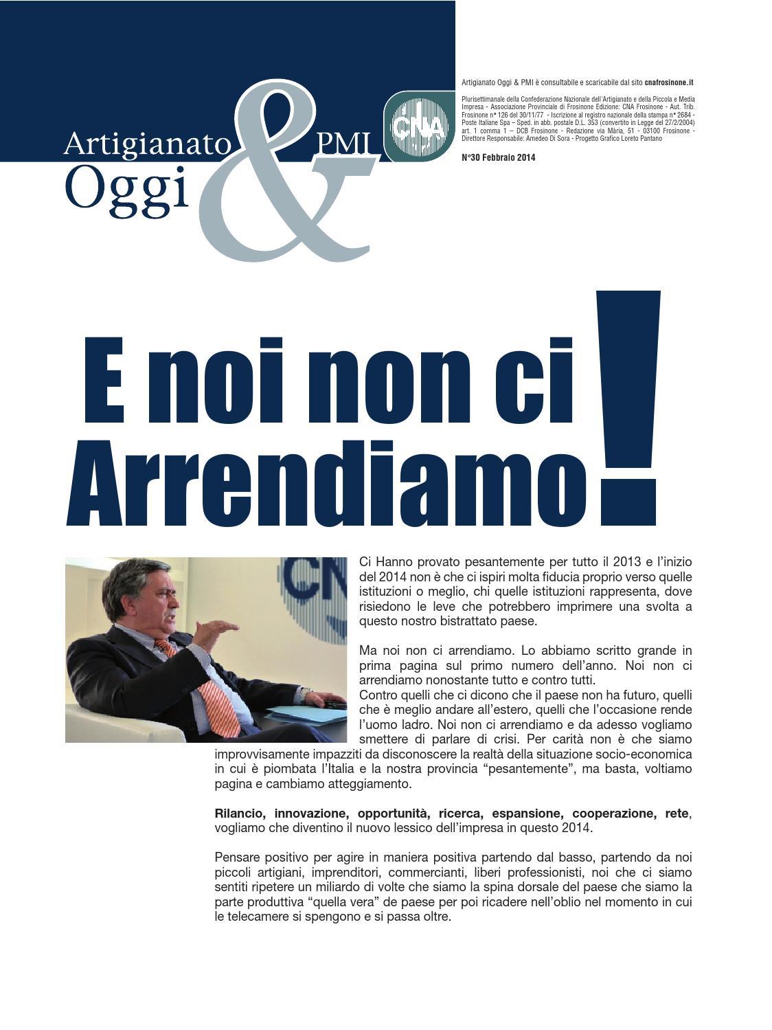 Impresa In Un Giorno Frosinone artigianato&pmi oggi - febbraio 2014 by cna frosinone - issuu