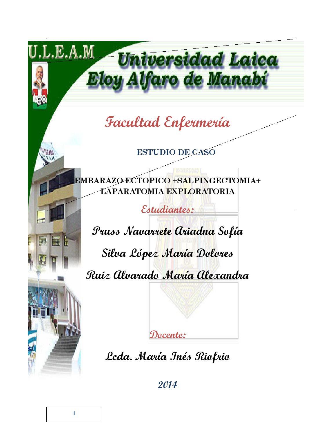 Estudio de Caso de Embarazo Ectopico +Salpingectomia +Laparatomia ...