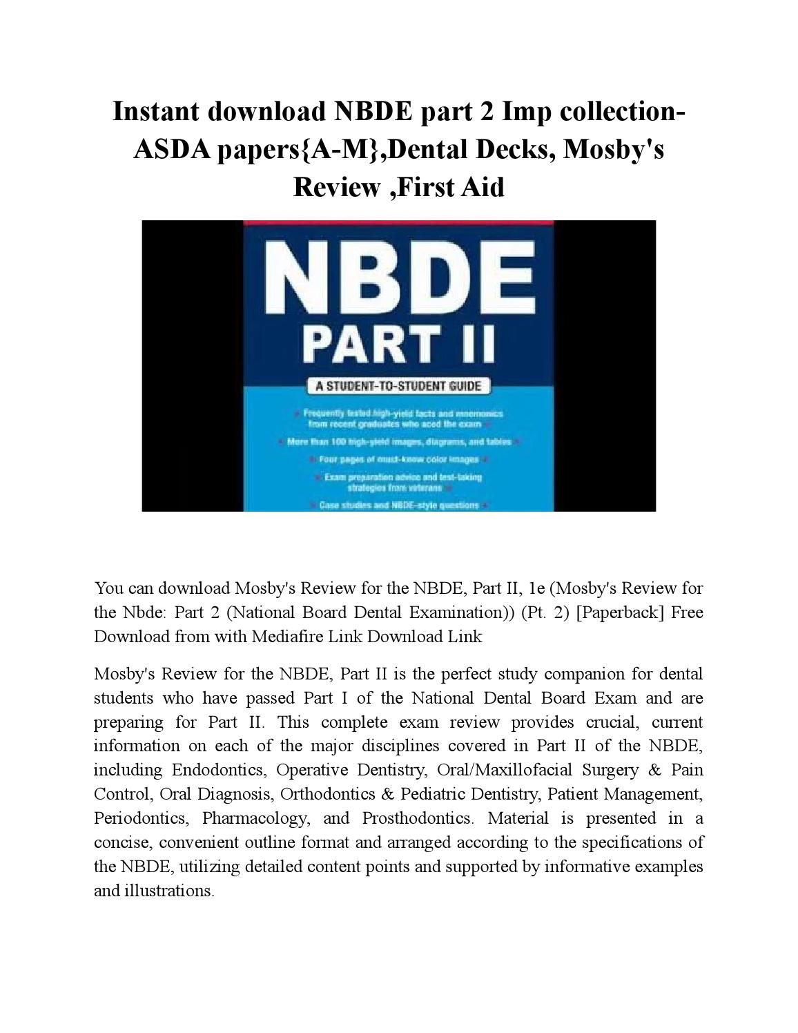 Taking the NBDE Parts I and II