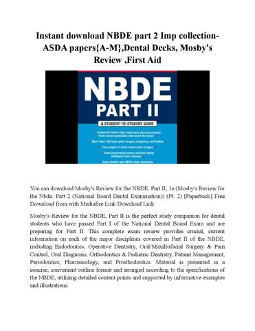 Download asda test papers and packets/reprints for nbde part 1.