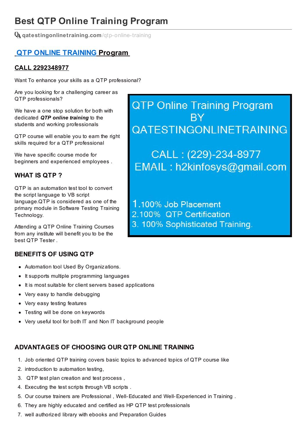 Qatestingonlinetraining Offers Qtp Online Training All Over The
