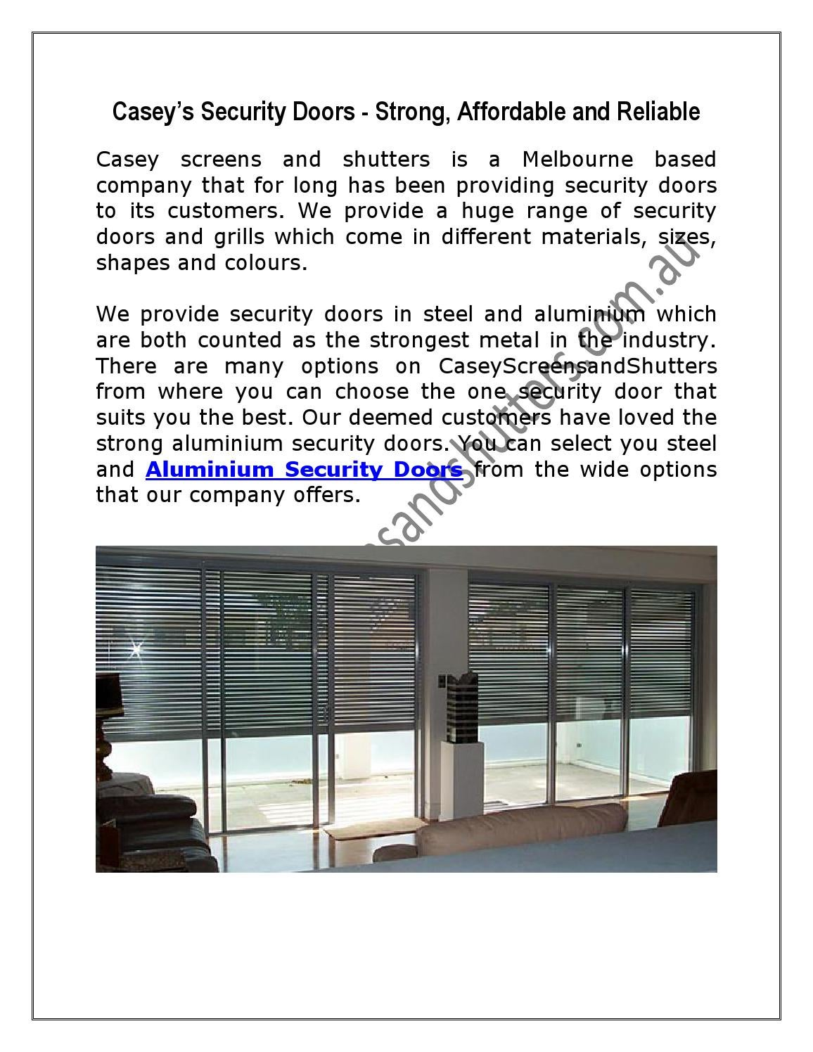 Casey's Security Doors - Strong, Affordable and Reliable by ...