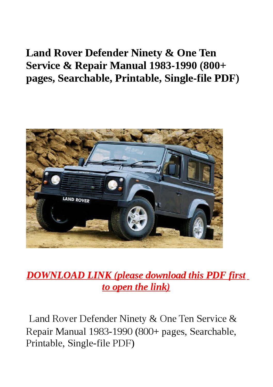 Land Rover Defender Ninety  U0026 One Ten Service  U0026 Repair