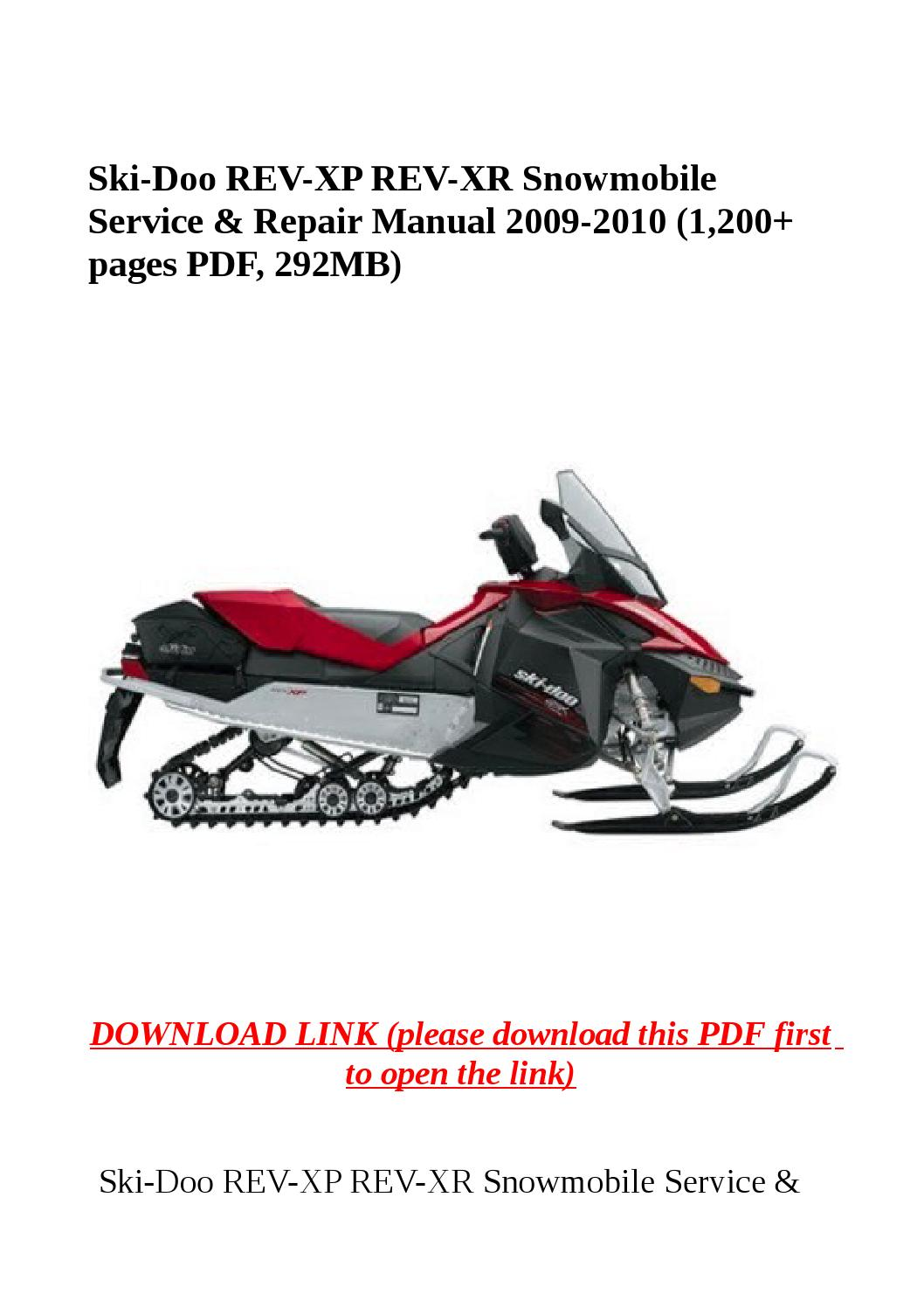 Ski doo rev xp rev xr snowmobile service & repair manual 2009 2010 (1,200  pages pdf, 292mb) by herrg - issuu