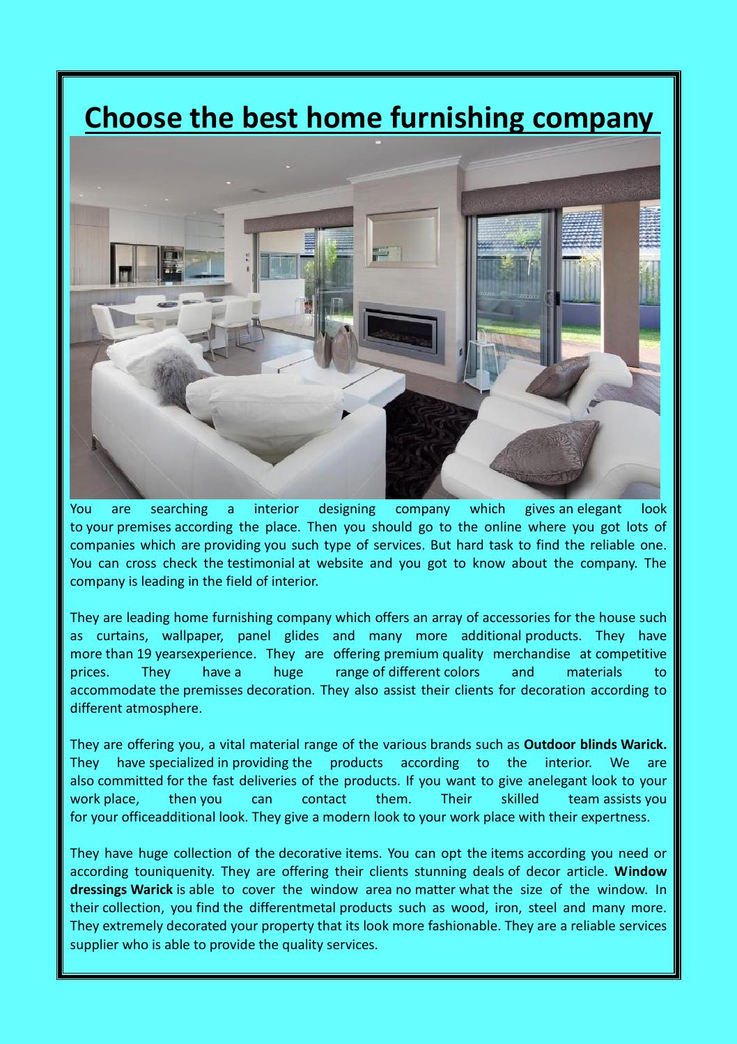 . Choose the best home furnishing company by visiondecor   issuu