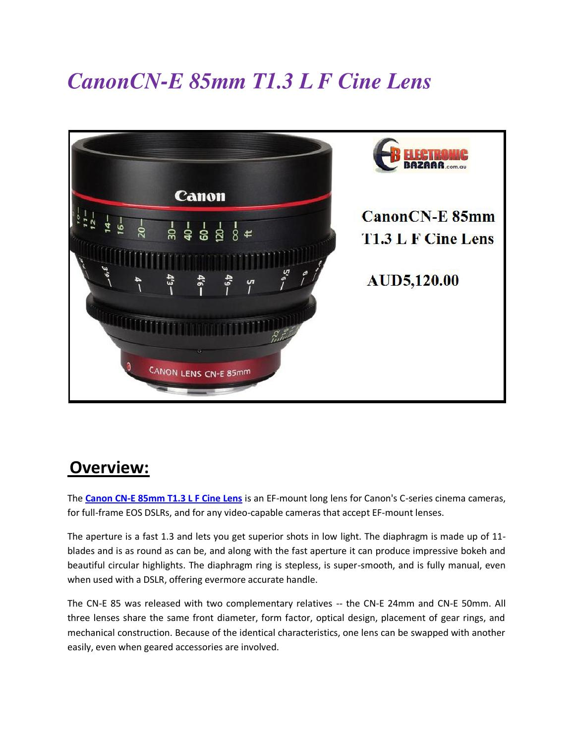 Canoncn E 85mm T1 3 L F Cine Lens By Electronic Bazaar Issuu
