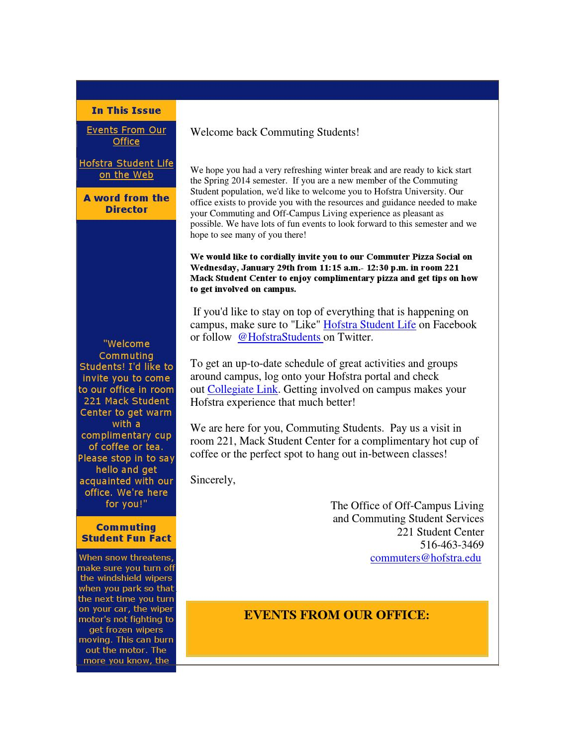 Marvelous Welcome Back Newsletter January 2014 By Hofstra University Download Free Architecture Designs Scobabritishbridgeorg