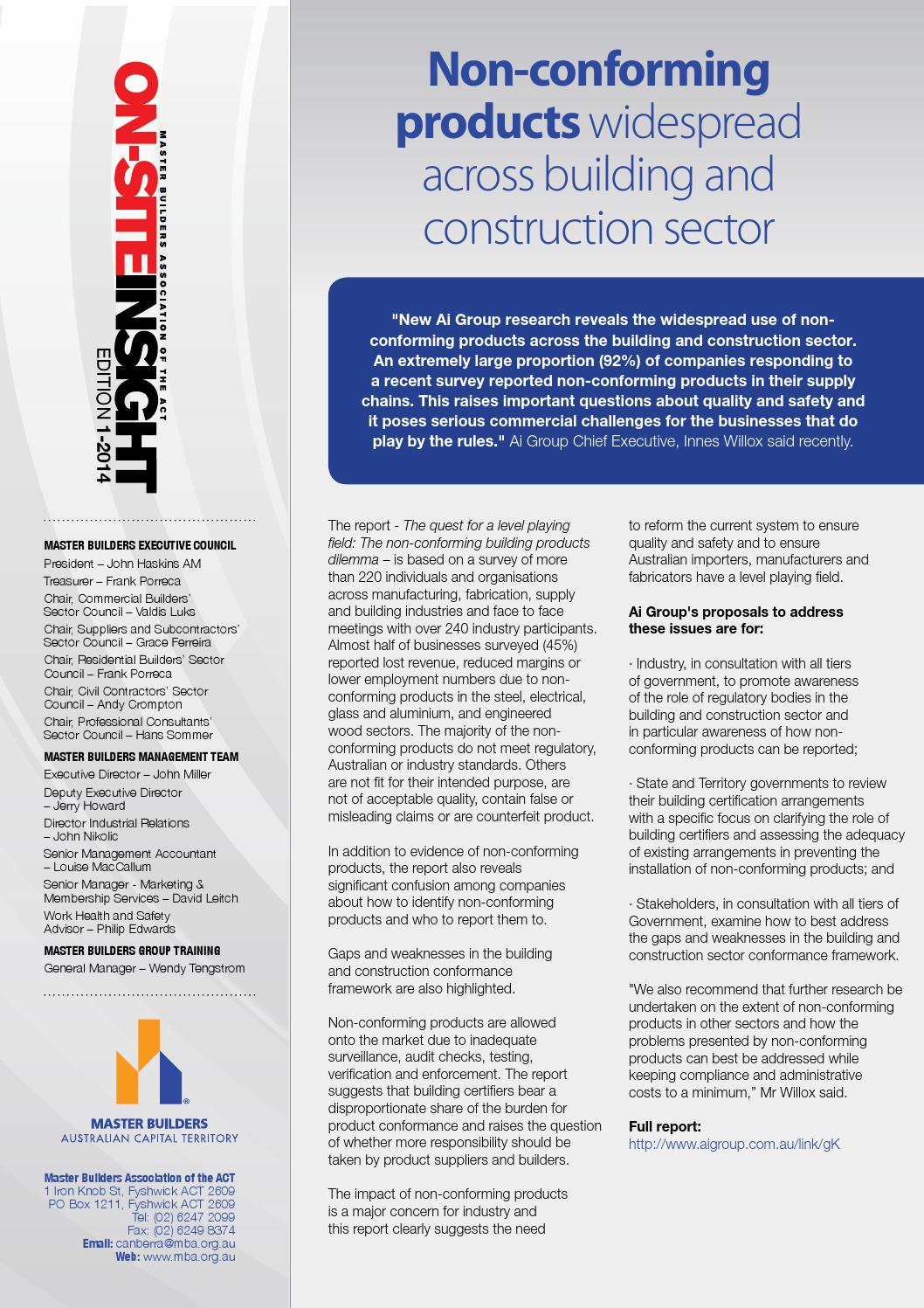 Onsite insight edition 1 2014 online by Master Builders