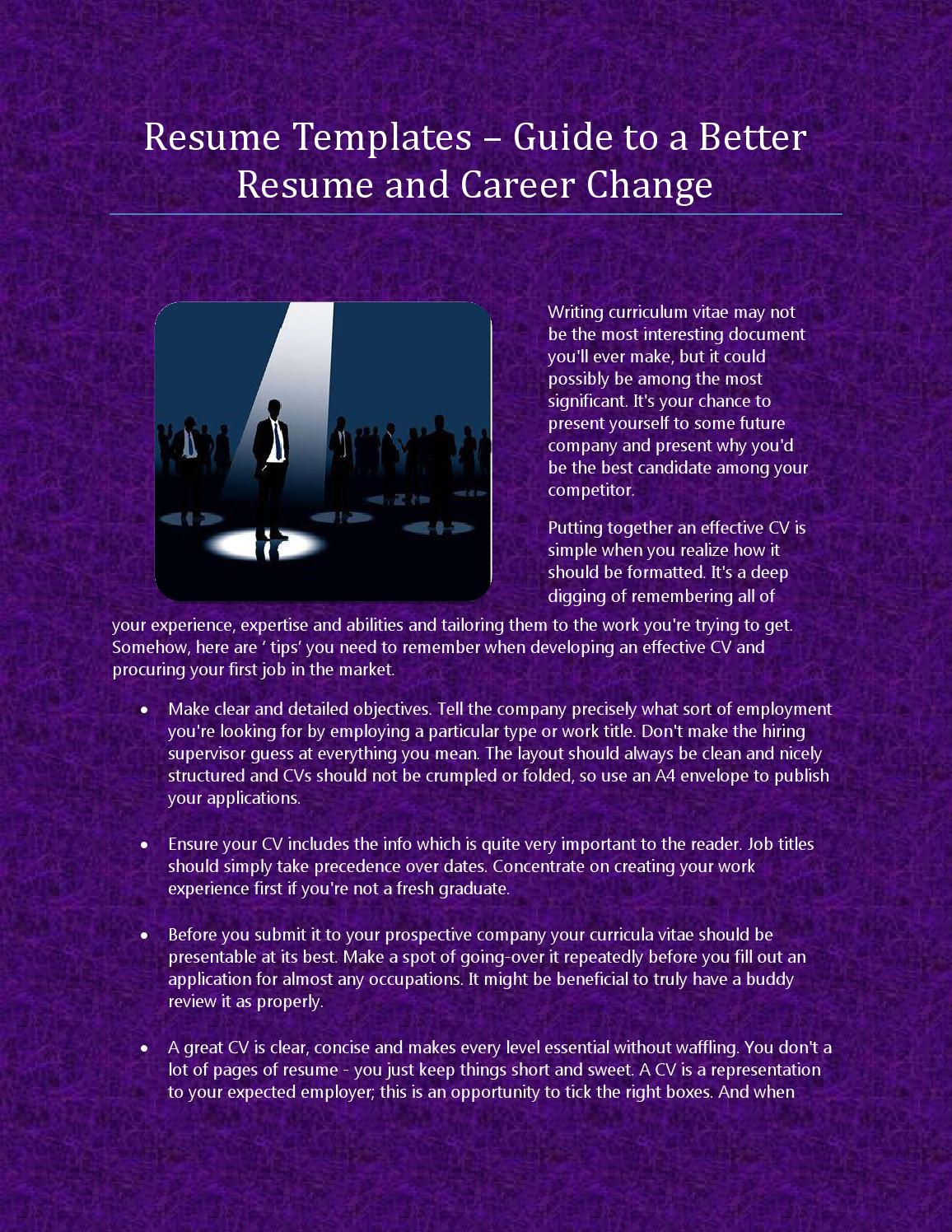 Resume templates – guide to a better resume and career change by ...