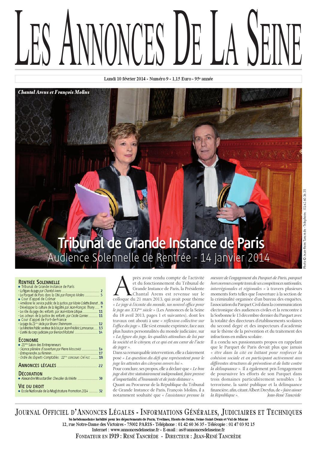 Edition du lundi 10 f vrier 2014 by annonces de la seine for Tribunal d instance salon de provence