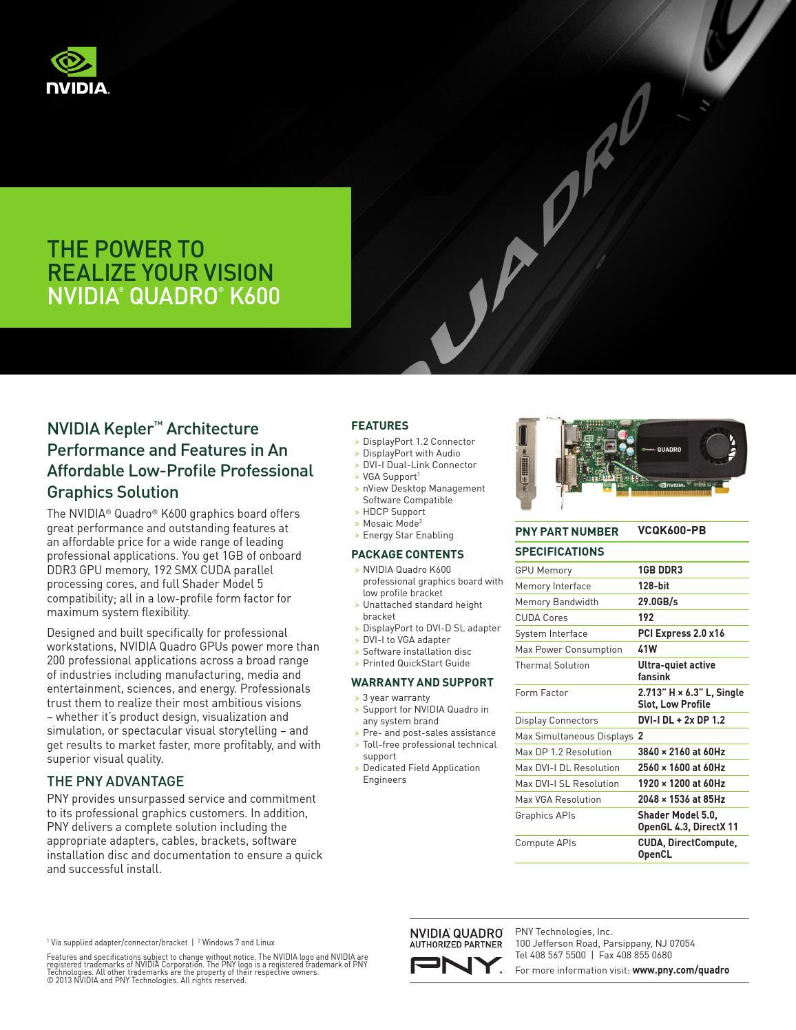 TV NVIDIA QUADRO K600 by Technotrend S  A de C V  - issuu