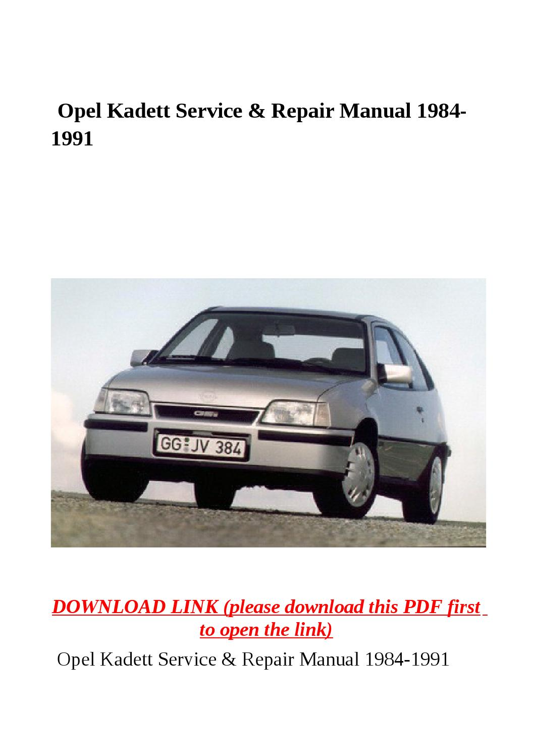 opel kadett service   repair manual 1984 1991 by herrg issuu Interior Opel Corsa C Opel Askona