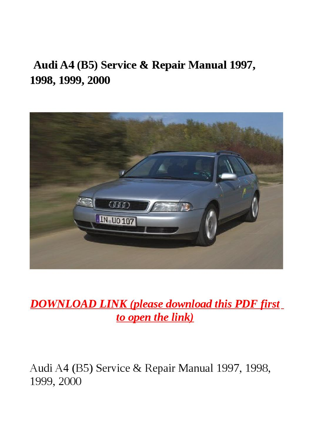 audi a4 b5 service repair manual 1997 1998 1999. Black Bedroom Furniture Sets. Home Design Ideas