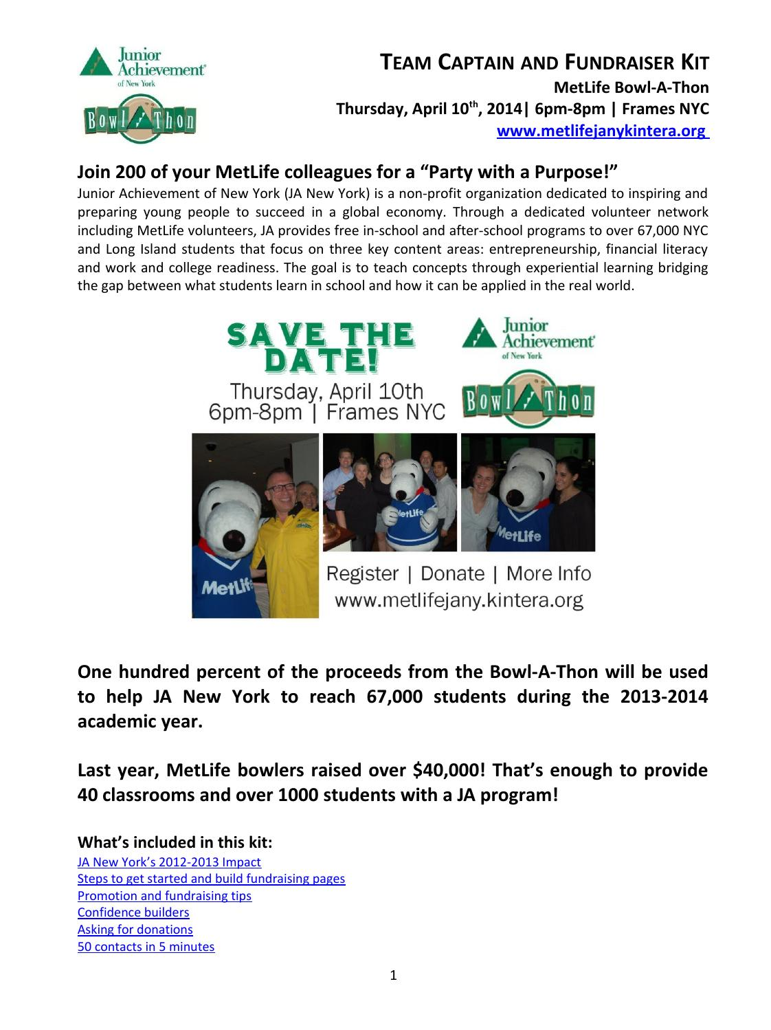 MetLife Fundraising Kit by Junior Achievement of NY - issuu