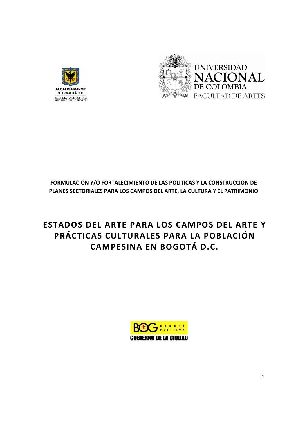 Estados Del Arte Para Los Campos Del Arte Y Practicas Poblacion