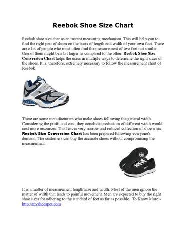 Reebok Shoe Size Chart By Mysoesspot Issuu