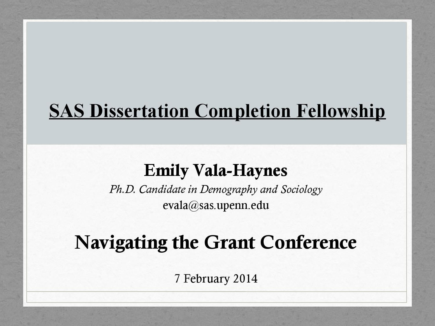 upenn sas dissertation completion fellowship