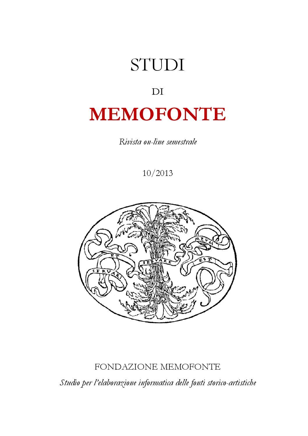 Di 2013 By Fondazione Memofonte Studi X Issuu Onlus pTxwq7dEv