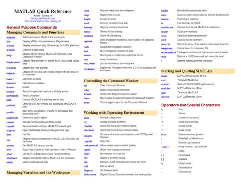 Matlab quickref by Cheat Sheet - issuu