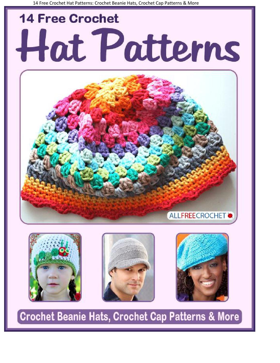 14 free crochet hat patterns crochet beanie hats crochet cap ...