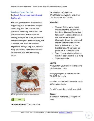 14 Free Crochet Hat Patterns Crochet Beanie Hats Crochet Cap