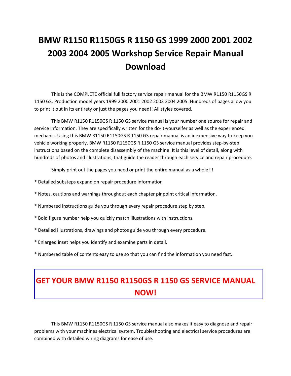 Bmw r1150 r1150gs r 1150 gs 1999 2000 2001 2002 2003 2004 2005 service  repair manual pdf download by sparchita3 - issuu