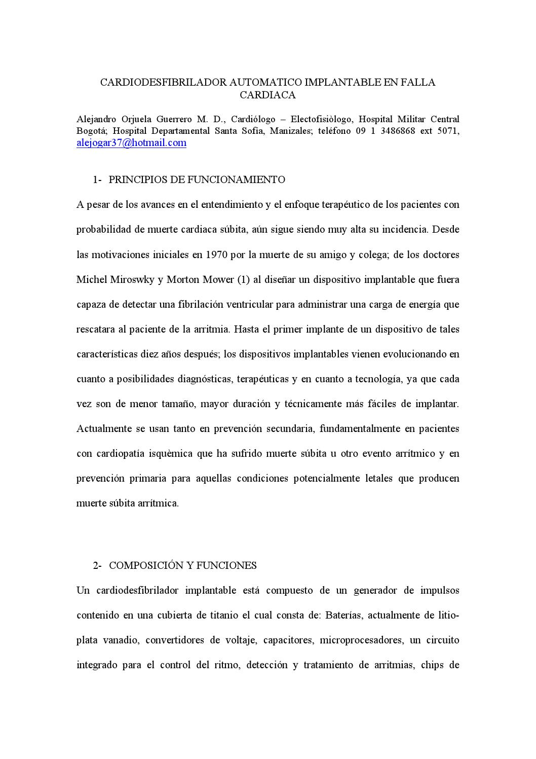 CARDIODESFIBRILADOR AUTOMATICO IMPLANTABLE EN FALLA CARDIACA by ...