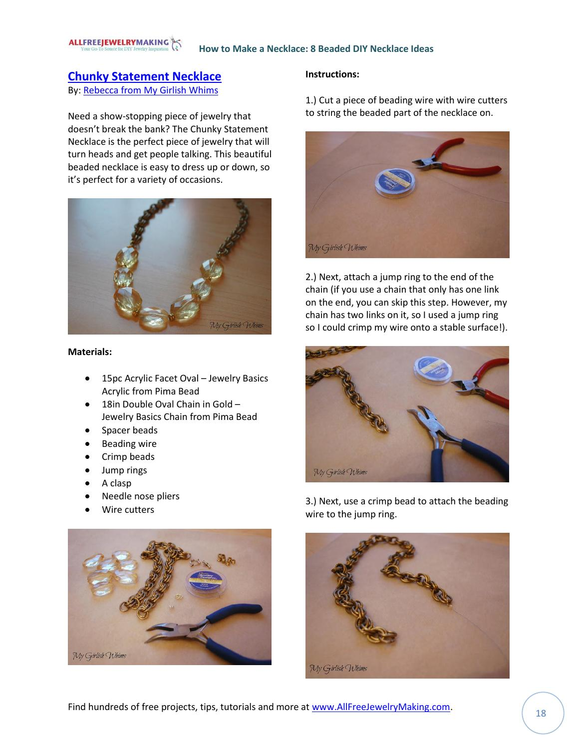 How to make a necklace 8 beaded diy necklace ideas free ebook by ...