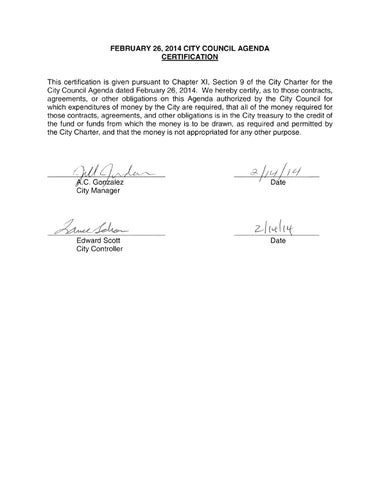 FEBRUARY 26 2014 CITY COUNCIL AGENDA CERTIFICATION