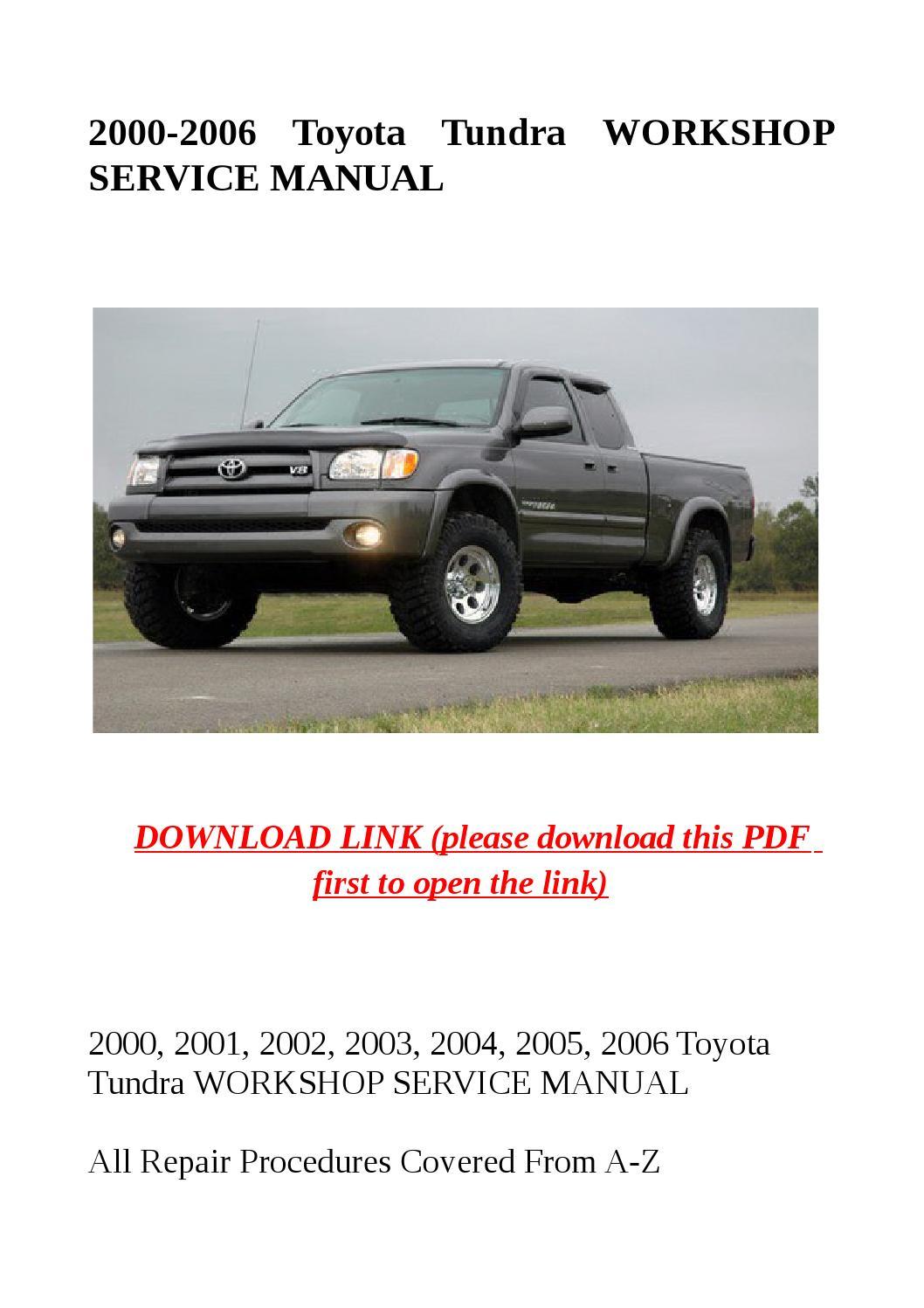 2000 2006 toyota tundra workshop service manual by herrg issuu