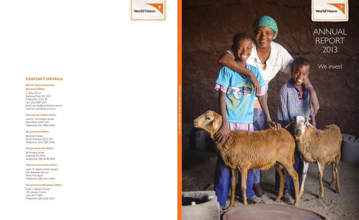 World vision annual report 2013 by world vision australia for 145 south terrace adelaide