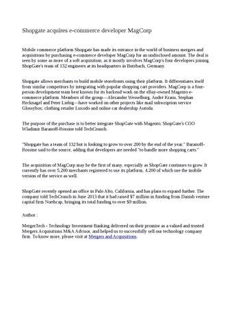 Cover Of Shopgate Acquires Emerce Developer Magcorp