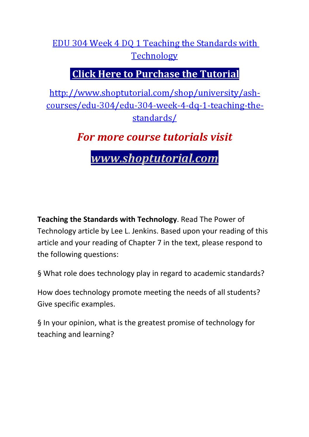 EDU 304 In order to succeed, you must read Uophelpdotcom