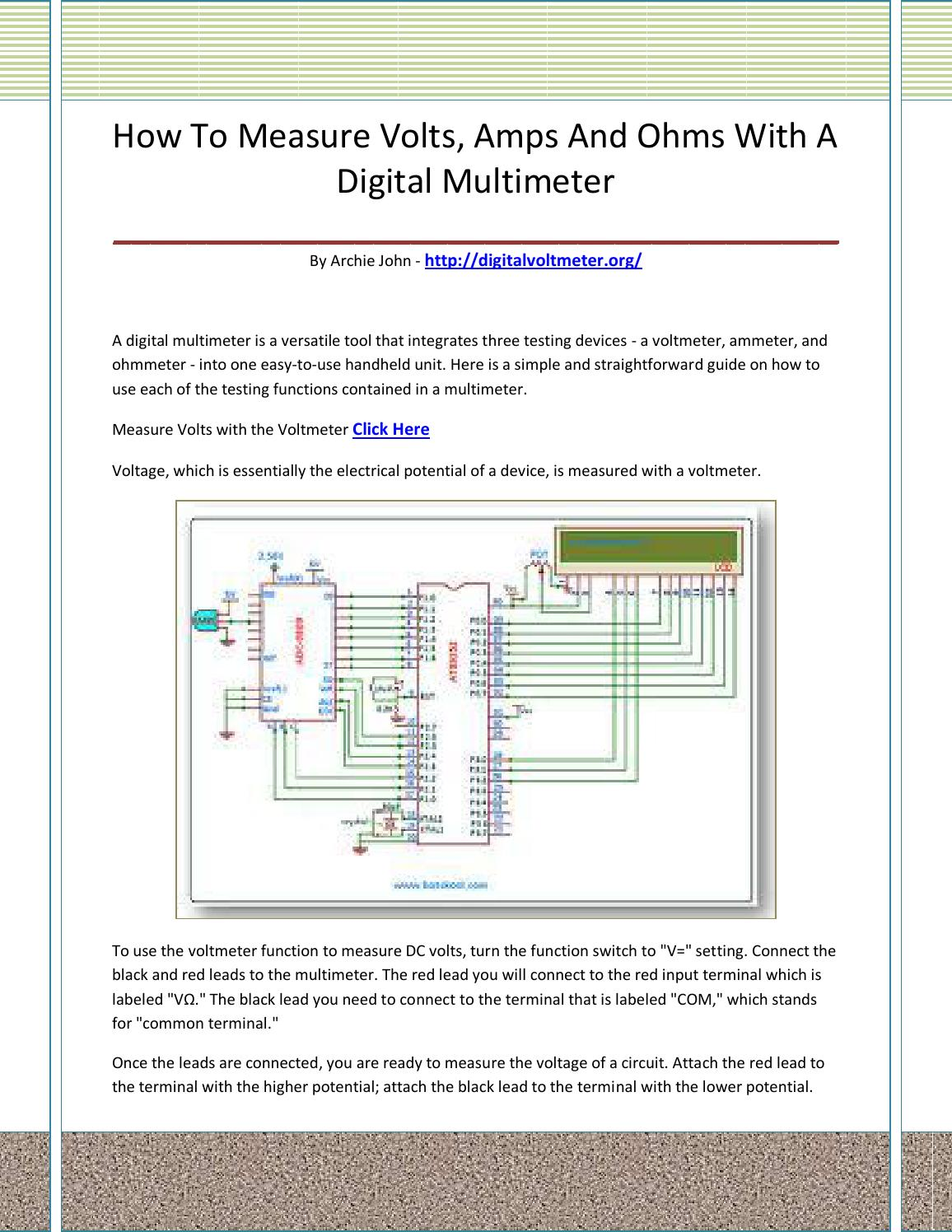 Digital Voltmeter By Adfasaskllll Issuu Diagram Of A Simple Series Circuit With An Ammeter And