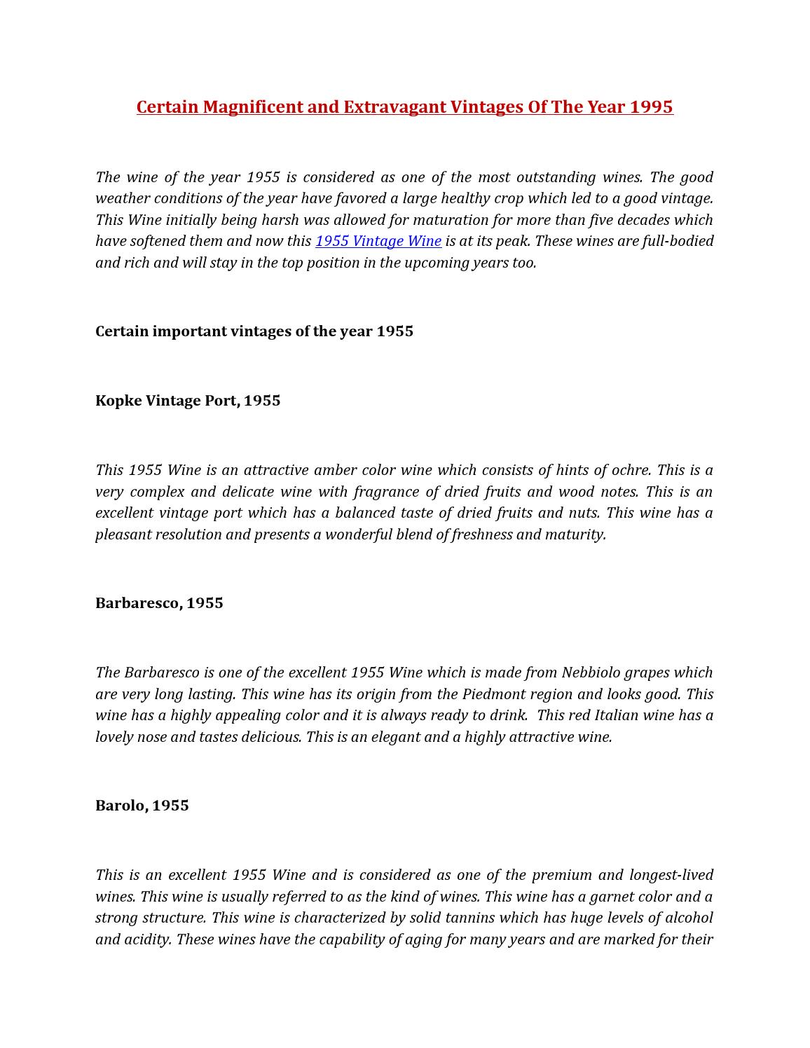 Certain Magnificent and Extravagant Vintages Of The Year 1995 by ...