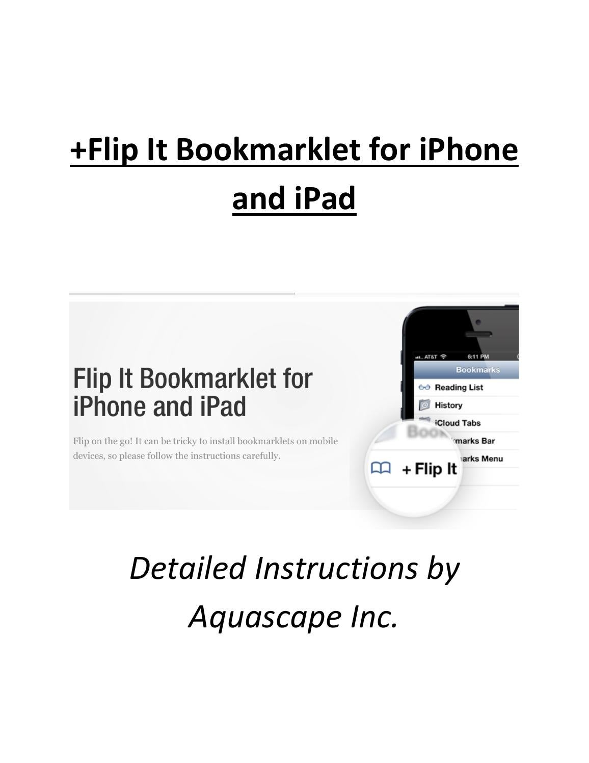 Aquascape's Adding the + Flip It Bookmarklet for iPhone and iPad Instructions