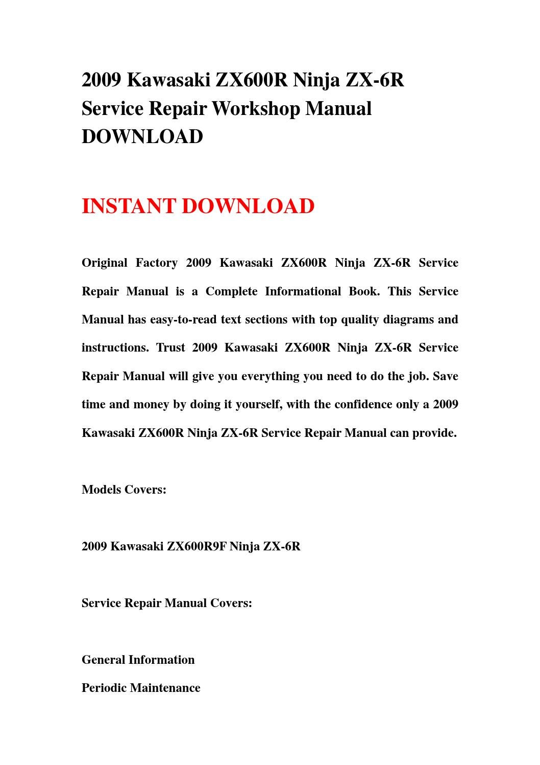 2009 kawasaki zx600r ninja zx 6r service repair workshop manual download by  hnjhhnj - issuu