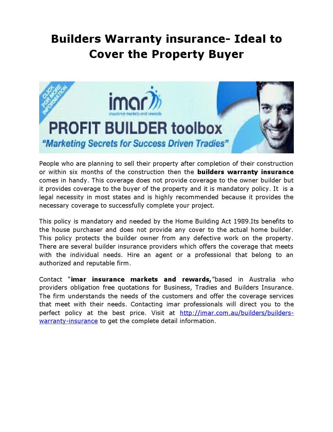 Builders Warranty Insurance By Imaraus Issuu